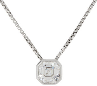 Diamonique Asscher Pendant w/ Adjustable Chain, Sterling, Boxed - J333430