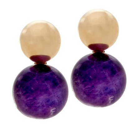 14K Gold Polished Bead and Gemstone Earrings