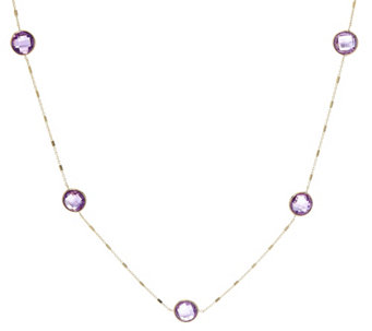 "14K Gold 18"" Faceted Gemstone Station Necklace - J334830"