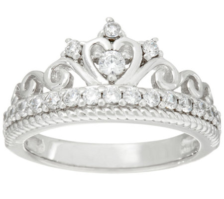 Diamonique Crown Band Ring, Sterling