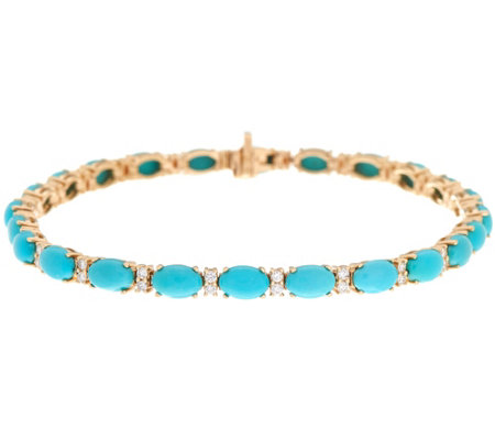 "Sleeping Beauty Turquoise & Diamond 7-1/4"" Tennis Bracelet 14K Gold"