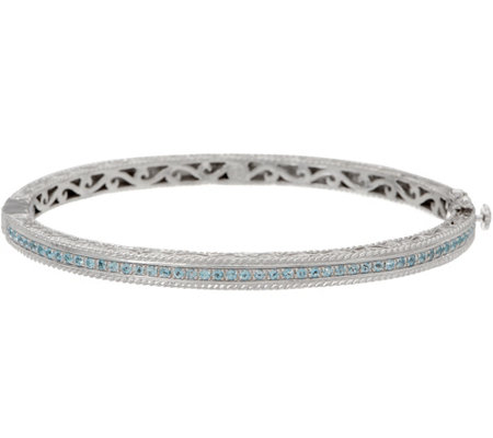 DeLatori Sterling Silver Pave Gemstone Hinged Bangle Bracelet