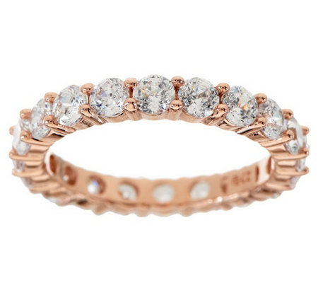 """As Is"" Diamonique 100- Facet Eternity Band Ring, 14K Clad or Sterl."