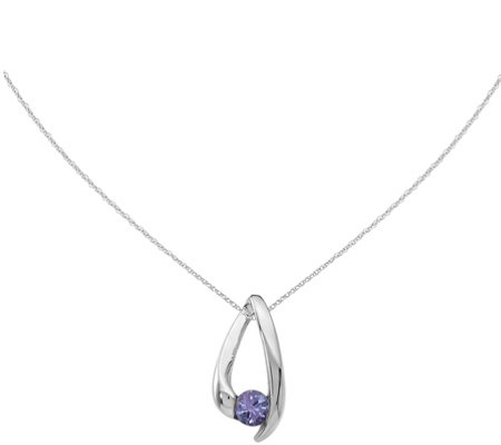 "14K White Gold Inverted V Gemstone Pendant w/18"" Chain"