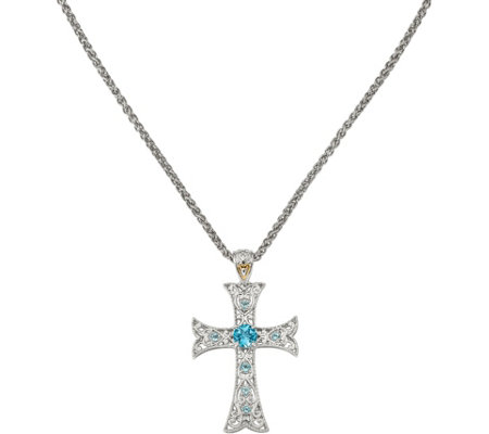 "Sterling & 14K Blue Topaz with 18"" Chain"
