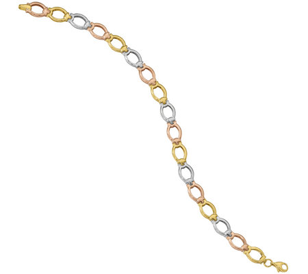 14K Tri-color Polished and Satin Link Bracelet,4.4g