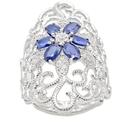 Sterling 2.85 cttw Sapphire & White Zircon Ring