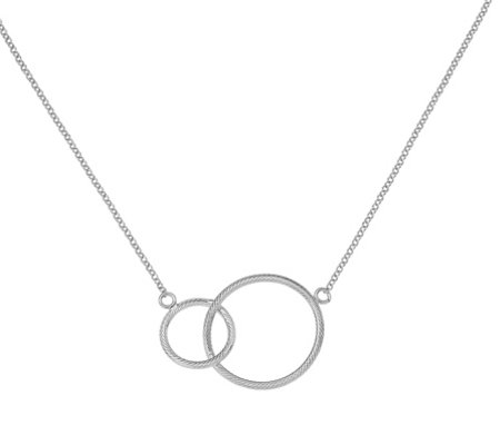 Italian Silver Intertwined Circles Necklace Sterling, 5.3g