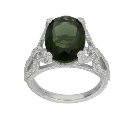 Judith Ripka Sterling 4.00 cttw Moldavite and Diamonique Ring