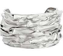 Sterling Silver Domed Wave Cuff, 26.8g - J382830