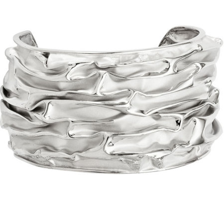 Sterling Silver Domed Wave Cuff, 26.8g