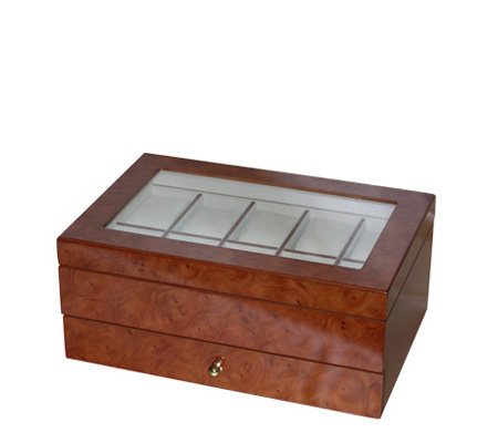 Mele & Co Winston Burlwood Oak Finish Watch Boxwith Cushions