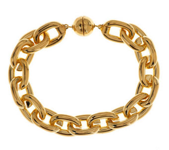 """As Is"" Oro Nuovo Large Rolo Link Bracelet with Magnet, 14K - J152331"