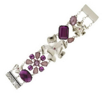 Isaac Mizrahi Live! Faceted Stone and Flower Bracelet - J152531