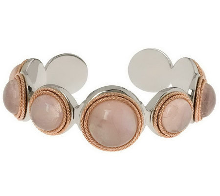 """As Is"" VicenzaGold Rose Quartz Doublet Hinged Cuff, 14K"