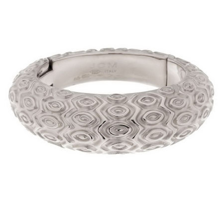 Italian Silver Sterling Bold Avg. Marquise Pattern Domed Hinged Bangle