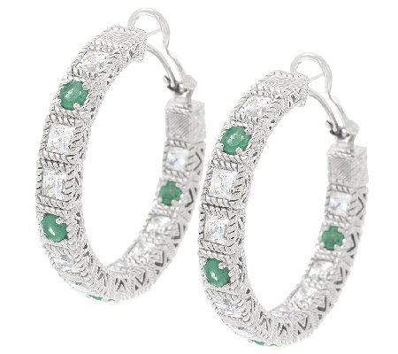 Judith Ripka 1.6ct Emerald and 6.2ct Diamonique Hoop Earrings