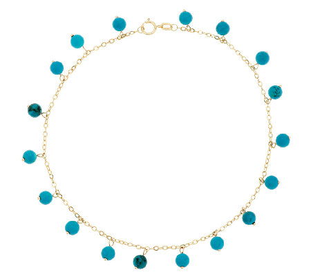 "14K Gold 10"" Turquoise Bead Dangle Ankle Bracelet"