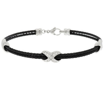 "Stainless Steel Crystal and Cable ""X"" Design Bracelet - J289731"