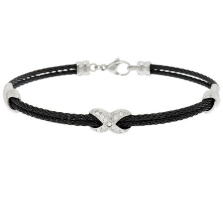 "Stainless Steel Crystal and Cable ""X"" Design Bracelet"