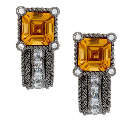 Judith Ripka Sterling 2.30ct Citrine and Diamonique Earrings