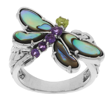 Carolyn Pollack Sterling Silver Abalone Doublet & Gemstone Dragonfly Ring