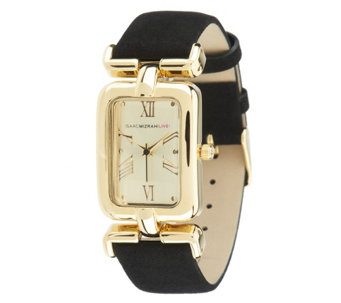 Isaac Mizrahi Live! Rectangle Case Watch with Suede Strap - J293031