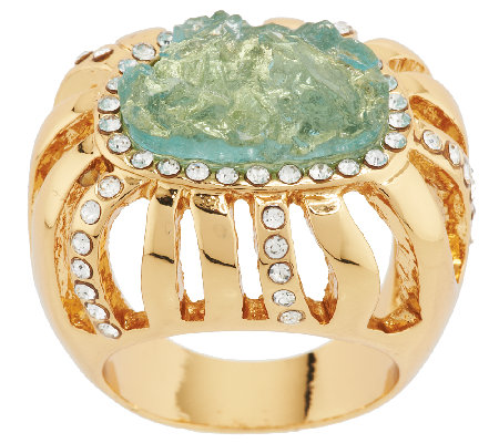 Kara Ross Goldtone Simulated Drusy & Crystal Ring