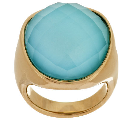 14K Gold Bold Sleeping Beauty Turquoise Doublet Ring