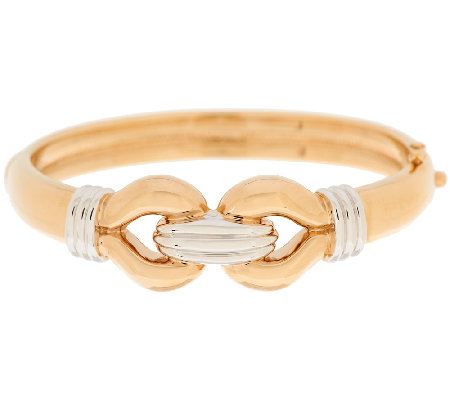 14K Gold Small Polished Two-tone Interlocking Bangle