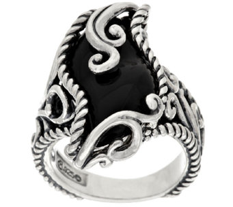 Carolyn Pollack Carved Black Onyx Sterling Signature Ring - J296631