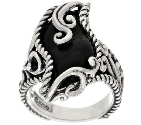 Carolyn Pollack Carved Black Onyx Sterling Signature Ring