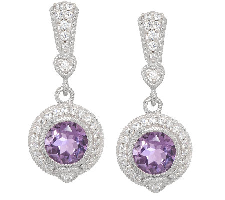 Judith Ripka Sterling & Diamonique 2.80ct Amethyst Quartz Earrings