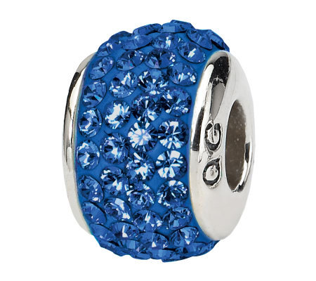 Prerogatives Sterling Medium Blue Full Swarovski Crystal Bead