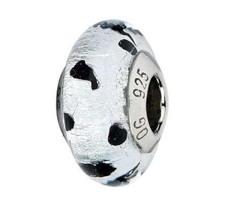 Prerogatives White/Black Dots Italian Murano Glass Bead