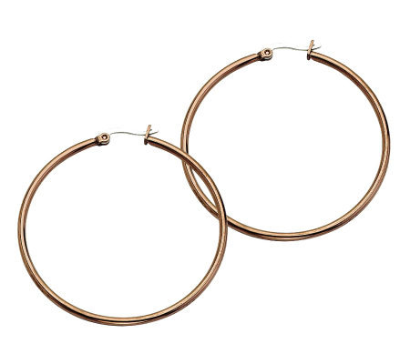 Stainless Steel Chocolate-Plated Hoop Earrings