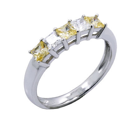 Diamonique & Canary Princess Cut Ring, Platinum Clad