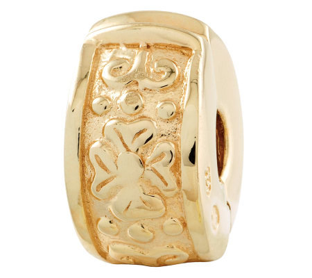 Prerogatives Gold-Plated Sterling Hinged FloralDesignClip Bead