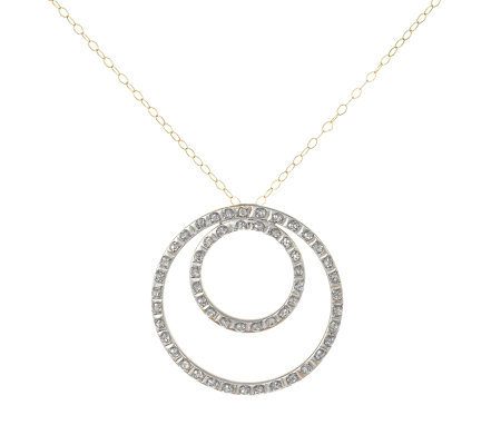 Diamond Fascination Nested Circle Pendant withChain, 14K Gold