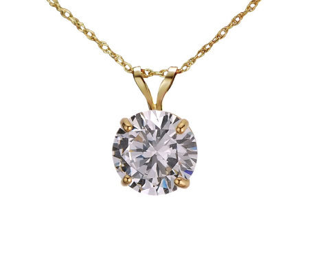 Diamonique 2.00 ct Round Solitaire Pendant w/Chain, 14K Gold
