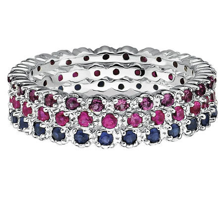 Simply Stacks Sterling Garnet, Ruby, & SapphireRing Set