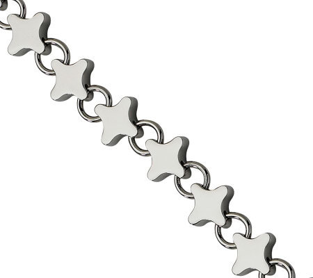 "Stainless Steel 7-1/2"" Polished Stars Bracelet"