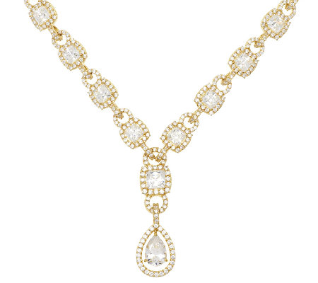 Judith Ripka Sterling & 14K Clad Diamonique Drop Necklace 20""