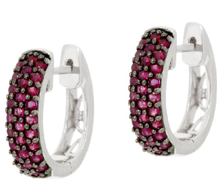 Ruby, Emerald or Sapphire Sterling Silver Hoop Earrings,