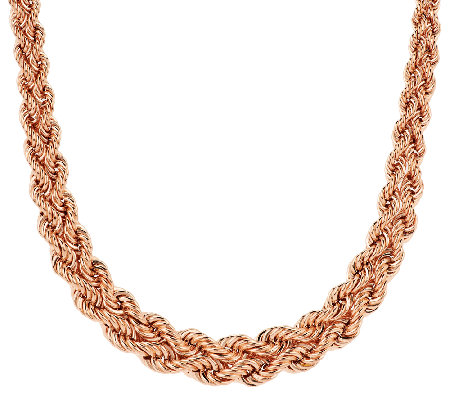 """As Is"" Bronzo Italia 18"" Woven Double Rope Necklace"
