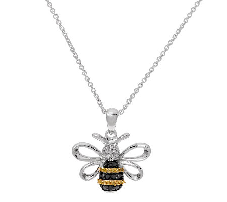 Bumble Bee Diamond Pendant with Chain, Sterling, by Affinity