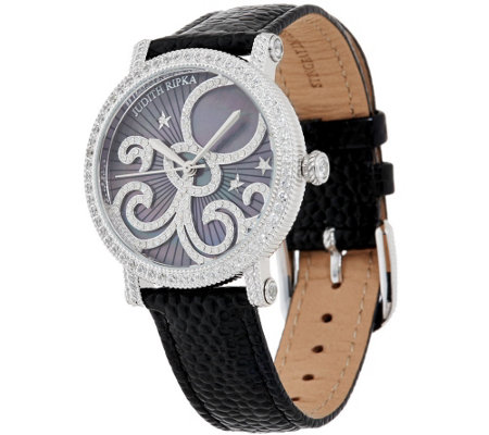 Judith Ripka Stainless & Mother-of-Pearl Zodiac Watch w/ Leather Band