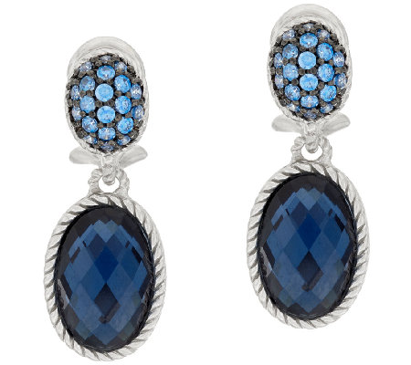 Judith Ripka Sterling Pave' Oval Gemstone Drop Earrings