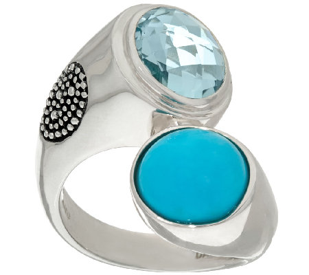 Michael Dawkins Sterling Turquoise & 3.25 ct Blue Topaz Ring
