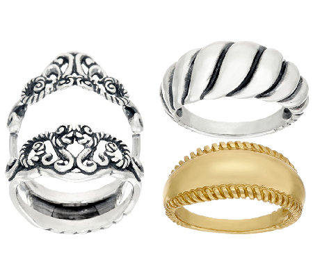 Carolyn Pollack Sterling & Brass Signature Design Ring Set
